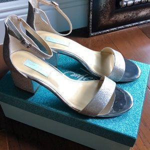 Betsey Johnson Silver Glitter Miri Evening Sandal